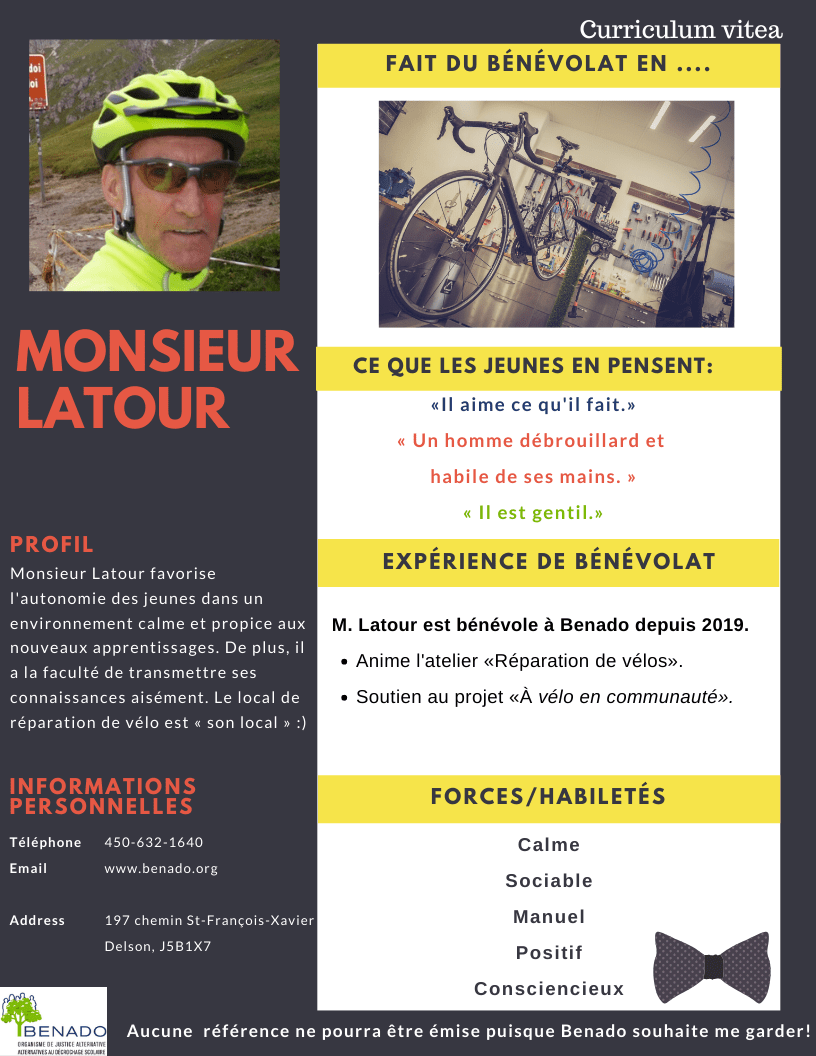 Nous vous présentons   Monsieur Latour (nouveau de cette année)