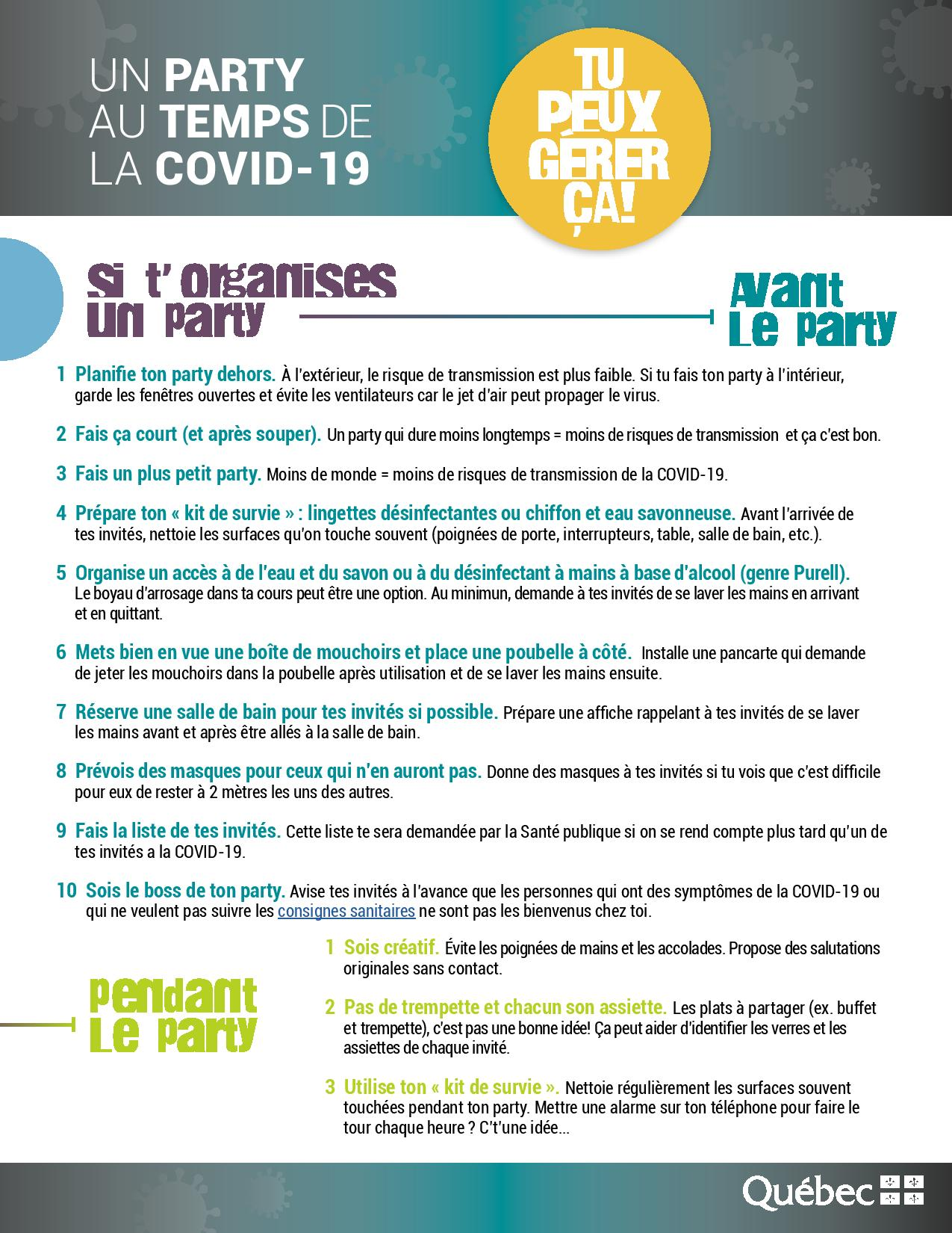 Un party au temps de la COVID- soyons vigilants